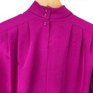 Vintage Tops - Vintage Fuchsia High Collar Blouse